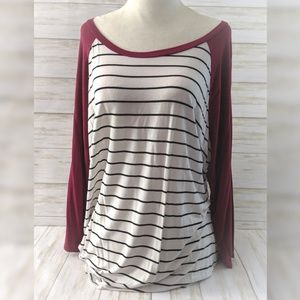 Maurices Top • Striped 3/4 Sleeves Flowy T-shirt